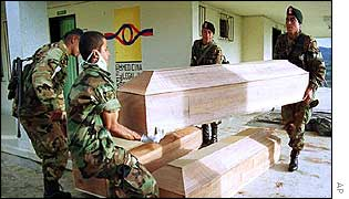 Colombian soldiers coffins containing unidentified dead fighters found around Campamento