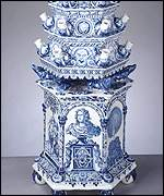 Delft pair of tulip vases, c1694, tin-glazed earthenware