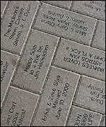 Engraved bricks outside Houston's Astros Field