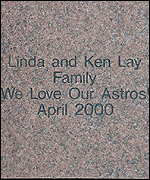 Ken and Linda Lay's brick outside Houston's Minute Maid Park