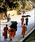 monks in street