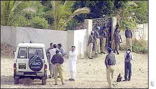 Pakistani security personnel guard the Karachi shed where the body was found