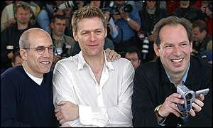 Bryan Adams (centre) with composer Hans Zimmer (right) and producer Jeffrey Katzenberg