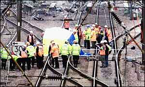Engineers scour the 'points' believed to be at the centre of the cause of the Potters Bar rail crash