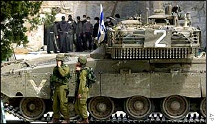 Israeli tank during Bethlehem incursion