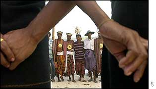 Tribal people rehearse a circle dance