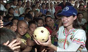 Angelina Jolie at Tham Hin refugee camp, Thailand