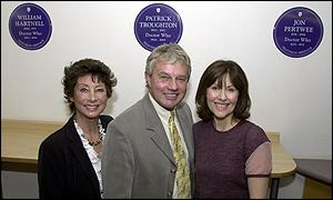 Former Doctors' assistants Carol Anne Ford (left) Frazer Hines, and Elisabeth Sladen