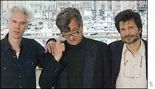 Jim Jarmusch (left) with Wim Wenders (centre) and Victor Erice