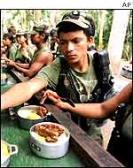 Members of FARC at a training camp