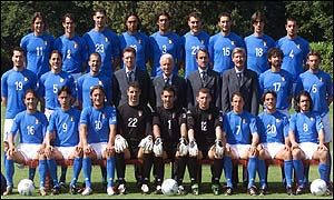 Italy squad pose for a team photograph at their pre-World Cup training camp