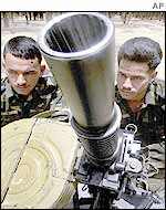 Indian soldiers with heavy weapons in Punjab