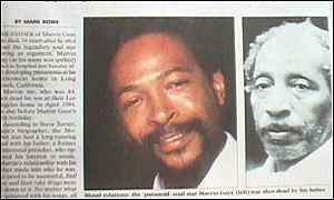 The death of Marvin Gaye's father received coverage in the UK press