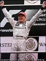 [ image: Hakkinen takes first at Luxembourg leaving him four points ahead]