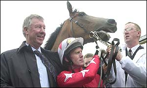 Sir Alex Ferguson's horse Rock of Gibraltar claimed victory at the Curragh on Saturday