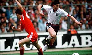 Chris Waddle in action for England