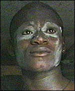[ image: The white mask of the Egbesu ritual]