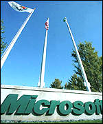 Microsoft logo and flags
