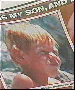 [ image: The Sun newspaper carried pictures of the boy from whom the hair was plucked]