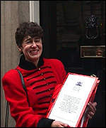 [ image: Gina Boaks hands in the petition to Number 10]