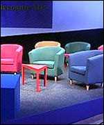 [ image: Ikea chairs at this year's Tory conference]