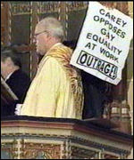 [ image: The archbishop's pulpit was taken over by protesters]