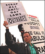 [ image: Peter Tatchell's protest targeted against the archbishop]