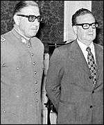 [ image: General Pinochet with the man he deposed, Salvador Allende]