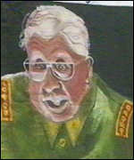 [ image: The protesters' caricature of General Pinochet]