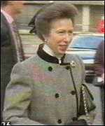 [ image: The Princess Royal arriving for the service at Wesminster Abbey]