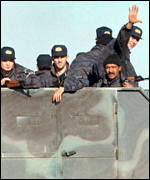 [ image: Milosevic finally withdrew his troops... for the time being.]