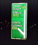 Road sign to Lockerbie