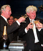 [ image: Jacques Santer and Wim Duisenberg celebrate the birth of the euro]