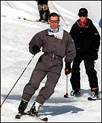 [ image: On the piste: Princes display their skills]