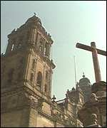 [ image: The cathedral stands on Aztec remains]