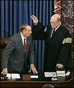 [ image: William Rehnquist (right) was sworn in by 96-year-old Strom Thurmond]