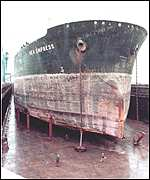[ image: The Sea Empress in dry dock, three months after running aground]