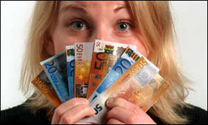 euro notes and woman