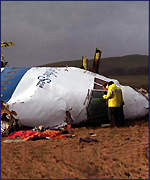 Nose of Flight 103 lying near Lockerbie