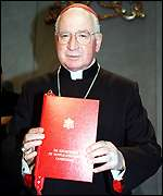 Cardinal Medina Estevez, holding a new publication of the Congregation for Worship