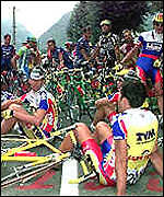 [ image: Tour de France 98: Drugs scandal prompted a cyclist's strike]