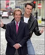 [ image: Henry Winkler gets the thumbs up from the new Fonzie, Craig Urbani]