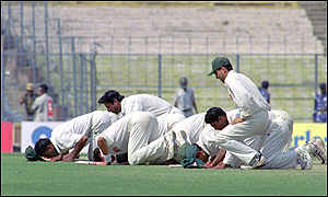 Bbc news cricket calcutta test farce for Farcical run out