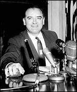 [ image: Senator McCarthy led the 1950s hunt for communists in Hollywood]