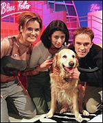 [ image: The Blue Peter team with Bonnie who has been appearing on the programme for 13 years]