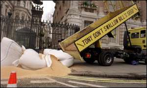 Greenpeace members dump 4 tonnes of GM Soya outside 10 Downing Street