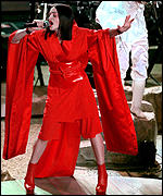 [ image: Lady in red: Madonna opens the Grammys]