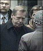 [ image: President Havel spoke against the