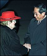 [ image: Ms Albright was welcomed to China by the Foreign Ministry's Lu Xumin]