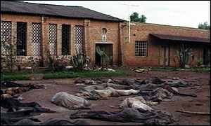 The remains of those killed in and around a church
